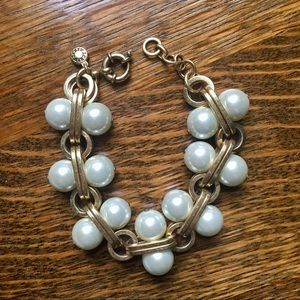 J. Crew Pearl and Gold Bracelet